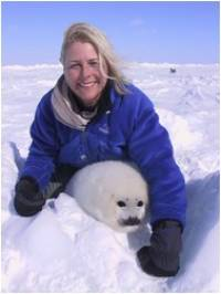 Spring 2003: Volunteer Allison Watson shows her joy and happiness at the sight of a beautiful baby harp seal. [ 47.38 Kb ]