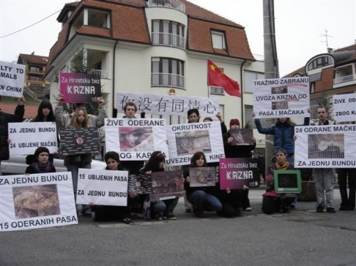 Protest in front of the Chinese Embassy 1